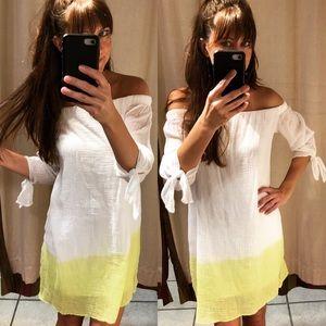 Off the shoulder lemon ombré dress 🍋